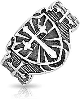Mens Religious Viking Shield Maltase Fleur De Lis Cross Signet Band Ring for Men Oxidized Silver Tone Stainless Steel