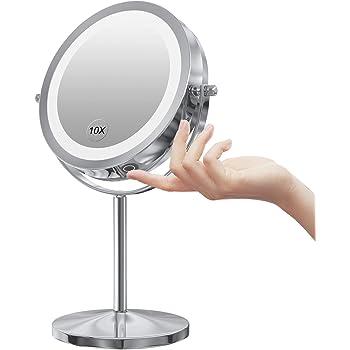 Gospire 拡大鏡 LED拡大鏡 拡大化粧鏡 10倍鏡付きLEDミラー LEDライト付きミラー タッチパネル 無段階明るさ調節可 真実の北欧風卓上鏡 両面化粧鏡 360度回転 丈夫なスタンド