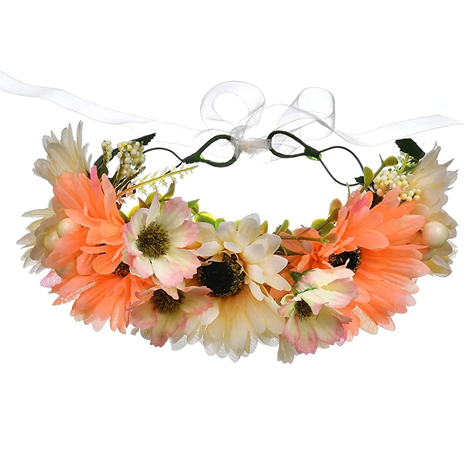 宝所有権ロシア1st market ボヘミアの菊の花輪ヘッドバンドヘッドバンド絶妙なユリの花のヘッドドレスビーチ写真の装飾女性の花輪ヘッドバンドのヘアアクセサリーオレンジ耐久性と便利