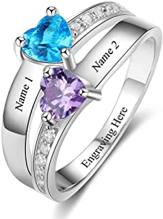 Personalized Promise Rings for Her Engraved Meaningful Name Rings for Womens 2 Simulated Birthstone Couples Rings