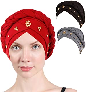 3 Packs Women Turban,Colorful Floral Printed One Plait Elegant Stretch Turban Head Wrap for Cancer Chemo