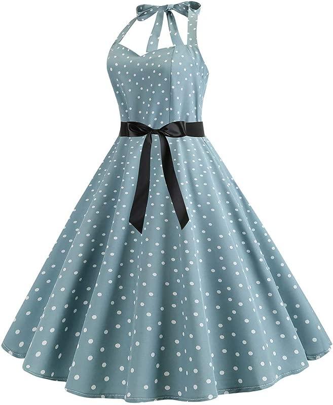 Molyveva Lovely Dress Ladies Halter V Neck Polka Dot Print Sleeveless Dress Waist Bow Evening Dress Afternoon Tea Elegant Short Skirt
