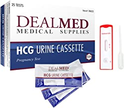 Dealmed HCG Urine Cassette Pregnancy Test Kit - CLIA Waived Sterile Kit - Quick & Accurate Home Diagnostic Test for Pregnancy Detection (25 Tests/Box)