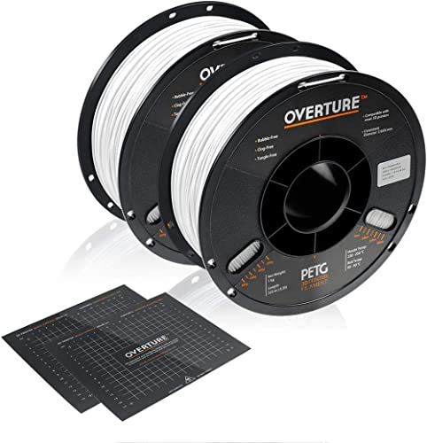 OVERTURE PETG Filament 1.75mm with 3D Build Surface 200 x 200 mm 3D Printer Consumables, 1kg Spool (2.2lbs), Dimensio...
