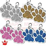 8PCS Dog Cat Paw Glitter Pendant Tags Blank No Lettering Pendant Pet Accessories Personalized Pet ID Tags Engraved Cat Dog Puppy Name Collar
