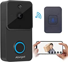 Abegal Wireless Video Doorbell, 720P Full HD WiFi Smart Doorbell with Chime, Compatible with Alexa, Two-Way Audio Night Vision PIR Motion Detection Home Security System Doorbell (Black)