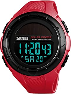 TONSHEN Unisex Large Dial Multifunction Outdoor Military Digital Sport Solar Watch LED Electronic Alarm Stopwatch 50M Waterproof Watches for Men and Women Plastic Case with Rubber Band (Red) …