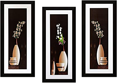 SAF Flower Textured UV Print Painting(Set of 3, 15 cm x 2 cm x 38 cm) SANFSA13