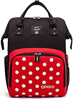 MERRYSUGAR Diaper Bag Backpack Nappy Bags for Mommy Travel Bag Large Multifunction Waterproof Cute Red Dot Black Simple Stylish and Durable