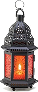 Gifts & Decor Amber Moroccan Metalwork Hanging Candleholder Lantern