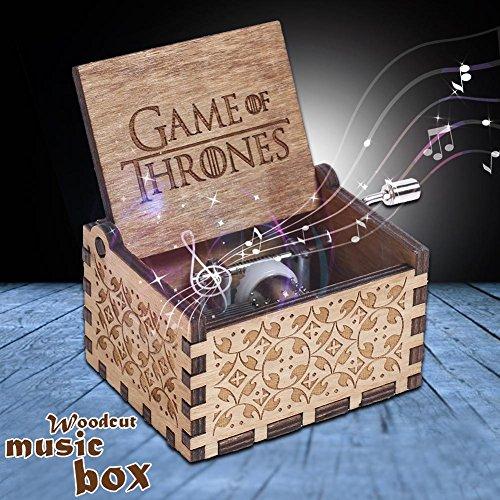 Slibrat Caja de música de JUEGO DE TRONOS Caja de música de madera grabada Artesanía...