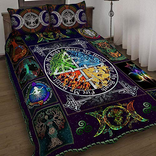 GEEMBI Quilt Bedding Set-Wiccan Witch Pagan Quilt Bed Set THH2582QS, Queen Size Coverlet for All Season-Soft Microfiber Bedspread+Pillows-Quilts Gifts (King,Queen,Twin)
