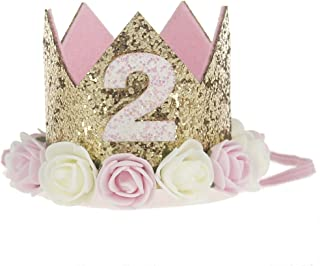 Golden Swallow Birthday Crown Baby Girl Flower Tiara Headband Party Hat Hairband