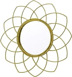 comprar comparacion Espejo Pared Decorativo Redondo, de Metal, Color Dorado, para Dormitorio. Diseño Geométrico, Elegante ø23cm - Hogar y Más