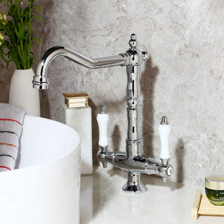 Lddpl Bathroom Sink Basin Faucet Deck Mount Bright Chrome Swivel Washing Basin Mixer Water Taps 360 Swivel 2 Handles Tap
