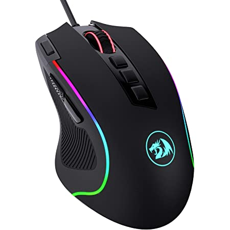 Redragon M612 Predator RGB Gaming Mouse, 8000 DPI Wired Optical Gamer Mouse with 11 Programmable Buttons & 5 Backlit Modes, Software Supports DIY Keybinds Rapid Fire Button