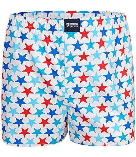 "Happy Shorts Boxershorts Herren/Web-Boxer mit Jersey-Innenslip – Modell: ""Stars"" (XL)"