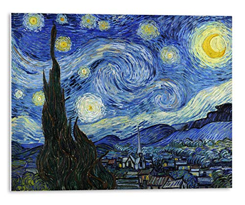 Tangerine Wall | Cuadro Grande de La Noche Estrellada de Vincent Van Gogh | Tamaño: 120x96 cm | Cuadros para decoración de Dormitorio | Instalación sin Hacer Agujeros