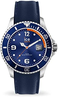 Ice-Watch - Ice Steel Navy Orange - Montre Bleue pour Homme avec Bracelet en Silicone - 017325 (Extra Large)