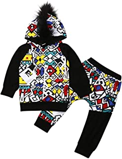 Toddler Kids Baby Boys Clothes Long Sleeve Hip Hop Down Hooded Sweater Tops+Stitching Pants Winter Warm Handsome Outfits