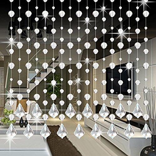 HINK Perle Cristal Verre Perle Rideau de Luxe Salon Chambre fenêtre Porte Mariage décor Maison et Jardin décor à la Maison
