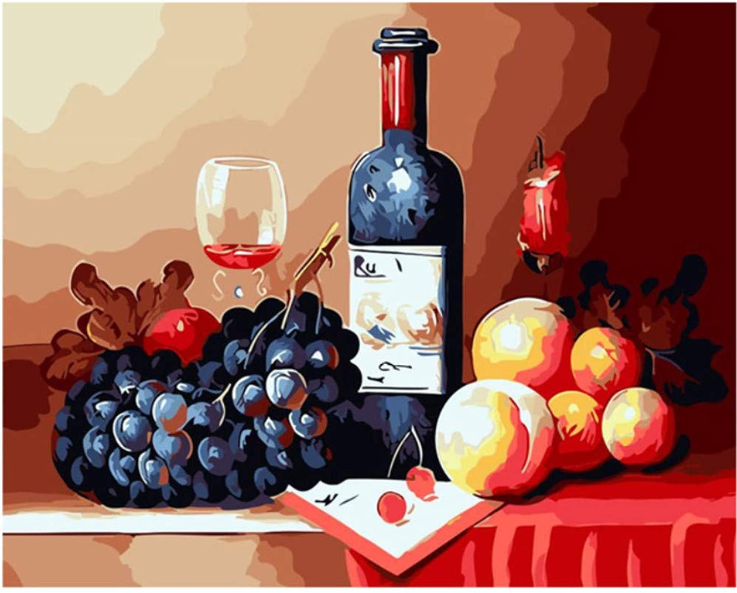 Red Wine Grape Fruits Drawing by Number Pictures Paints Painting by Numbers Kits Wall Art Acrylic Picture Gift Room Decor 50x60CM