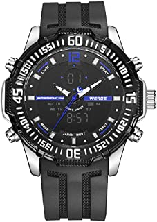 WEIDE WH6105 Dual Display Quartz Digital Men Watch Multifunctional Sports 3ATM Waterproof Big Dial Large Face Stopwatch Ti...
