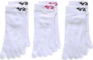 (ミズノ)MIZUNO レディース五本指ソックス 無地 婦人靴下 3足組 お買い得 強くて丈夫 スポーツ 定番 白