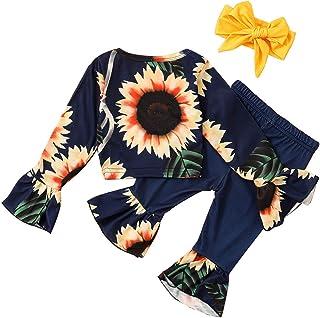 TROSJ Toddler BabyGirl ClothesSunflower Outfit Off ShoulderCrop Tops Bell Bottom PantsOutfits