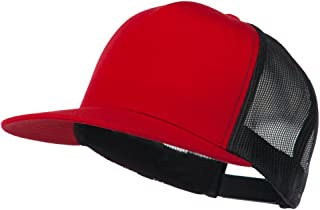Classic 5 Panel Two Tone Mesh Trucker Snapback Cap - Red Black
