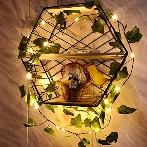 FEEE-ZC 2M Leaf Garland with Lights 20 LED Fairy Lights Artificial Ivy Leaves String Lights Batteries Powered for Christmas Wedding Bouquets Party Home Decorations