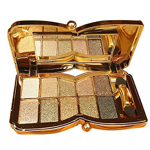Vococal® 10 Couleurs Diamant Brillant Fard à Paupières Palette Maquillage Cosmétiques Fondation Fard à Paupières Palette Avec Double Face Maquillage Stick Tool Set Numéro 6