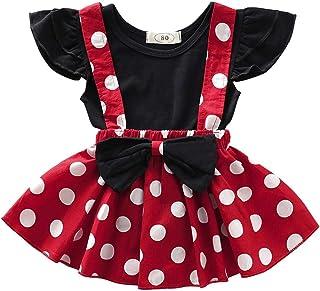 IWEMEK Baby Girl Polka Dot Mini Costume 1st Birthday Outfit Dress Up Romper Overall Suspender Tutu Skirt Headband Photo Prop