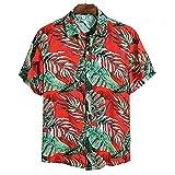 Camisa Hawaiana para Hombre - Funky Beach Shirt- Camisa De Verano De Manga Corta con Botones, Hojas Florales, Camisas Estampadas En 3D, Cuello Vuelto Informal para La Parte Superior De La Fi