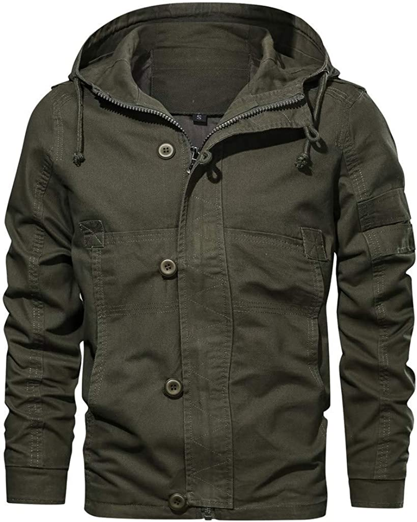 SOMESHINE Men's Cotton Windbreaker Jacket Military Zipper Bomber Cargo Outwear Jackets Coat Breathable Lightweight Jacket