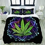 993 LICUNI Juego de funda nórdica de microfibra, hoja de cáñamo, marihuana, corbata, malas hierbas, ganja. Ilegale - Juego de cama