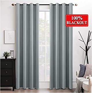 MIULEE 100% Blackout Curtains Thermal Insulated Solid Grommet Curtains/Drapes/Shades for Bedroom Living Room 2 Panels Silver Grey 52x96 Inch