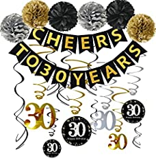 "Material:High quality ECO-friendly paper,sturdy and reusable Package include: 1 x ""CHEERS TO 30 YEARS"" banner(You Don't Need To ASSEMBLE YOURSELF);12pcs Sparkling Celebration 30th Hanging Swirls;6 x paper cute pom poms per in 2 gold 2 black 2 silver ..."