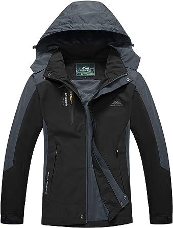 donhobo Jackets Mens Waterproof Softshell Ski Jacket Windproof Coat Camping With Hood Zip Pockets