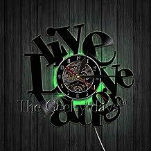TYFEI ¡Vive ama RIE!Diseño Moderno Disco de Vinilo Reloj de Pared The Sign Be Happy Cocina Arte Decoración de Pared Reloj Idea