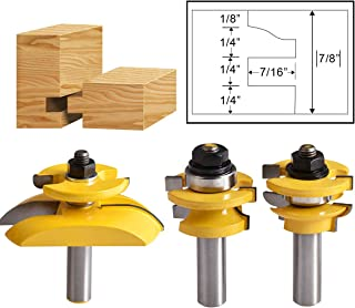 HOHXEN 3 PCS 1/2'' Shank Rail & Stile Ogee Blade Cutter Panel Cabinet Router Bit Set Milling Cutters Power Tools Door Knife Woodworking Cutter