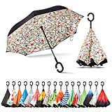 Sharpty Inverted Umbrella, Best Windproof Umbrella, Reverse Umbrella, Umbrella with UV Protection, Upside Down Umbrella with C-Shaped Handle (White Floral)