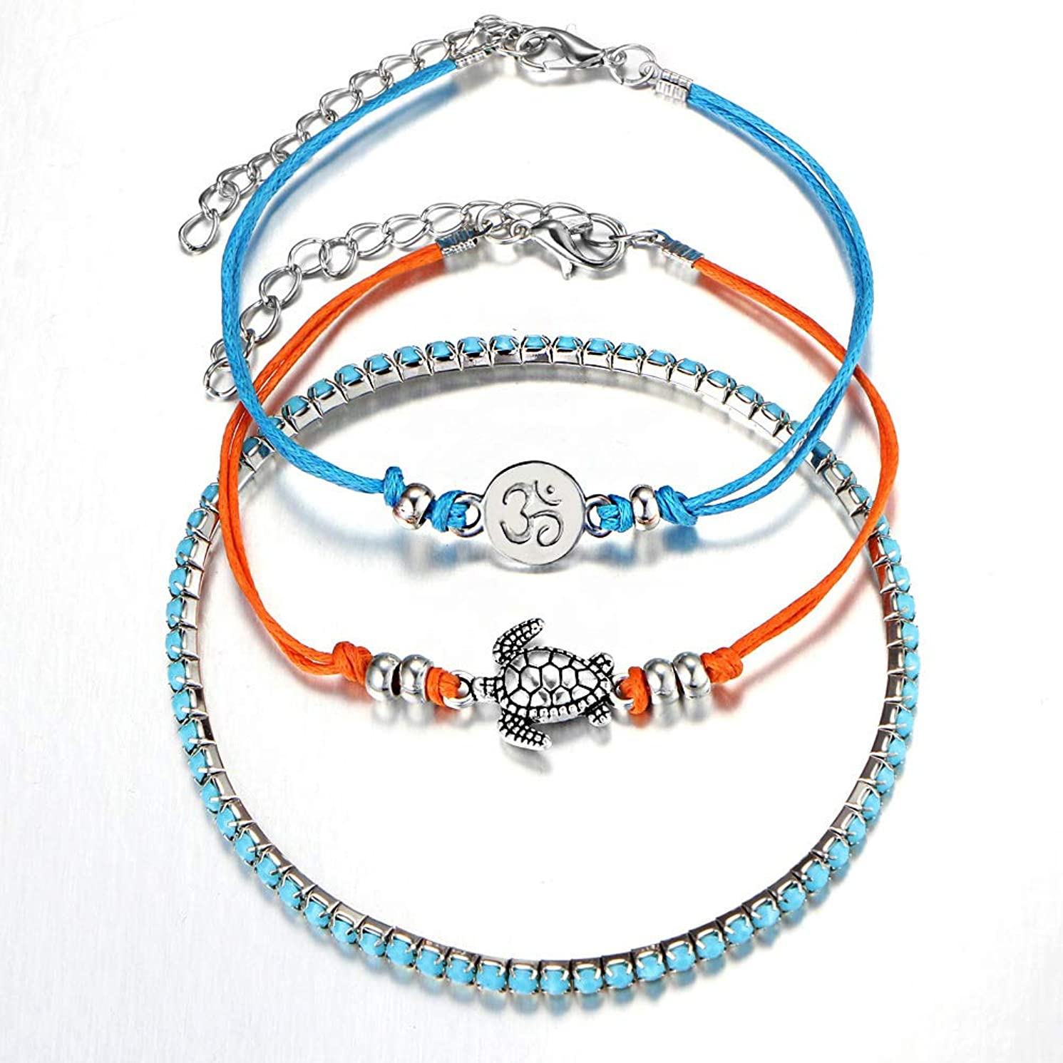 Chamqueen Multilayer Turtle Anklets Layered Rope Foot Jewelry Boho Anklets with Turtle Pendant for Women
