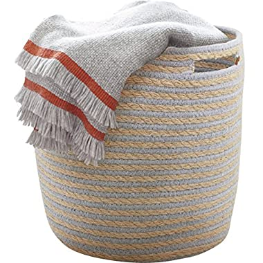 Storage Baskets Nursery Toy Woven Basket, Dorm Room Cotton Rope Linen Organizer with Handle,14 x14  for Towel, Laundry, Blanket, Gray