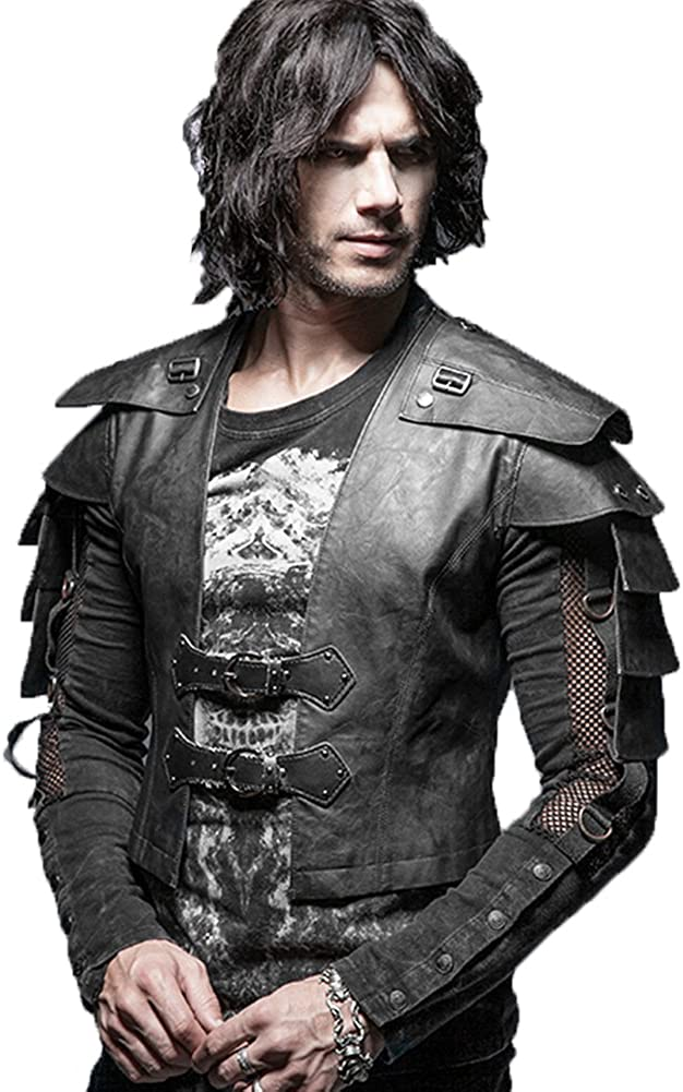 Punk Rave Mens Faux Leather Vest Jacket Coat Gothic Steampunk Armor Warrior Waistcoat Tops Black