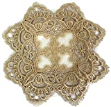 Doily Boutique Square Doily with Gold European Lace and Antique Fabric, Size 11 inches