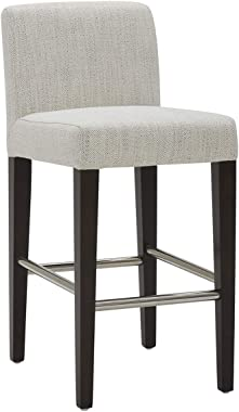 "CHITA Counter Height Bar Stool, Upholstered Fabric Stool, 26"" H Seat Height, Ivory"