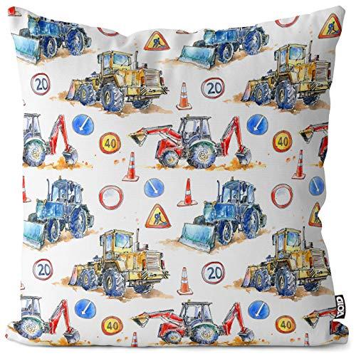 VOID Bagger Baustelle Kissenbezug Kissenhülle Polyester wasserfest Outdoor Indoor, Kissen Größe:60 x 60 cm