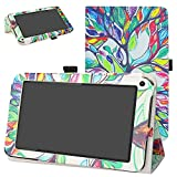 DigiLand DL7006 / DL718M / DL721-RB Case,Mama Mouth PU Leather Folio 2-Folding Stand Cover with Stylus Holder for 7.0' DL7006 / DL718M / DL721-RB Android Tablet,Love Tree
