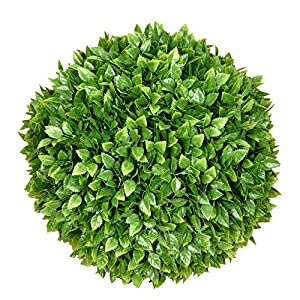 Silk Flower Arrangements SunnyRoyal Topiary Ball Artificial Outdoor Boxwood Balls Topiary Lifelike Plants, Round Topiary for Indoor/Outdoor Decore, Rose Leaf 8 Inch, 1 Piece
